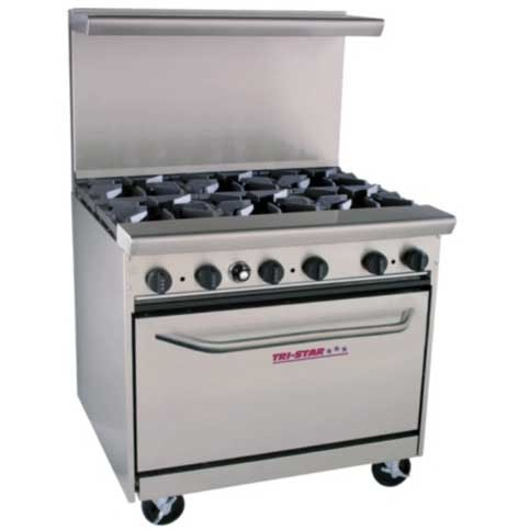 Restaurant Kitchen Gas Stove tri-star tsr-6 6 burner restaurant series range - chef's corner