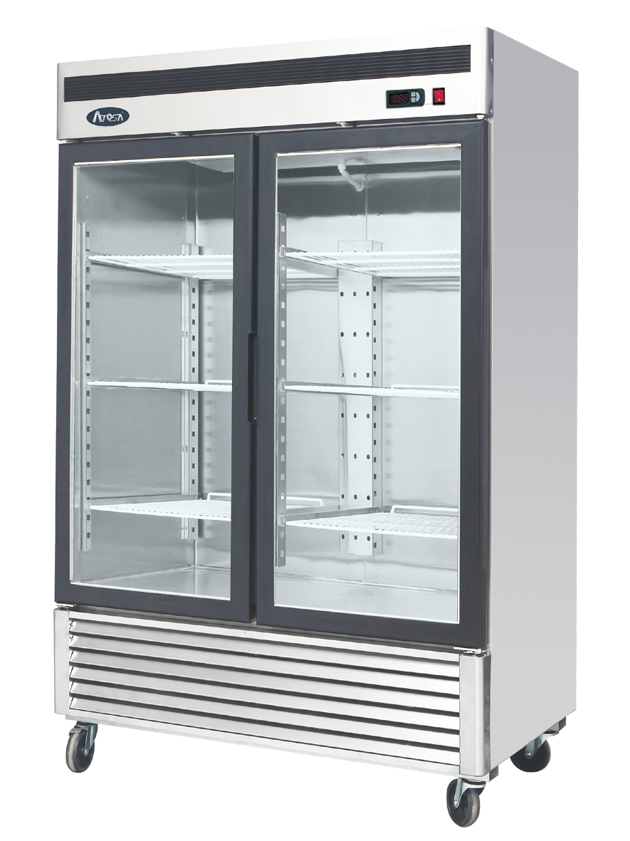 Atosa mcf8703 bottom mount two section glass door freezer for 2 pane window