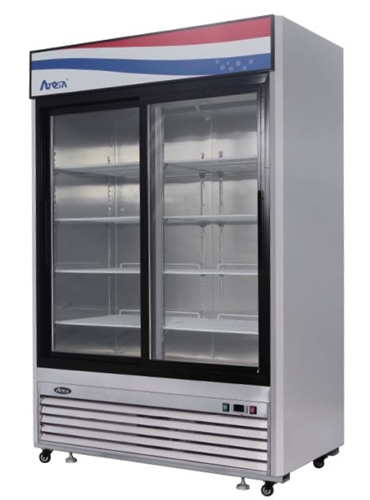 Atosa MCF8709 Bottom Mount Two Section Sliding Glass Door Refrigerator  (CALL FOR BETTER PRICE U2013 TOO LOW TO SHOW!)