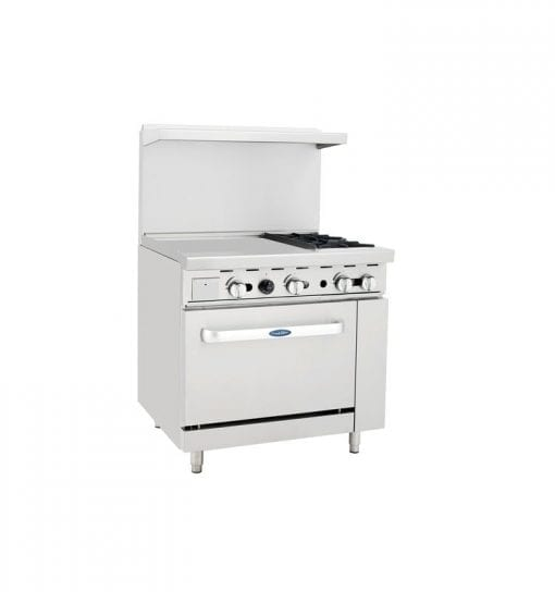 "Atosa ATO-24G2B 36"" Gas Range with 2 Burners and Left side 24"" Griddle"