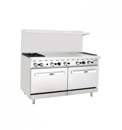 "Atosa ATO-2B48G 60"" Gas Range with 2 Open Burners, a 48"" Griddle, and Double Oven"