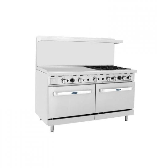 """Atosa ATO-36G4B 60"""" 4 Burner Gas Range with 36"""" Griddle and Double Oven"""