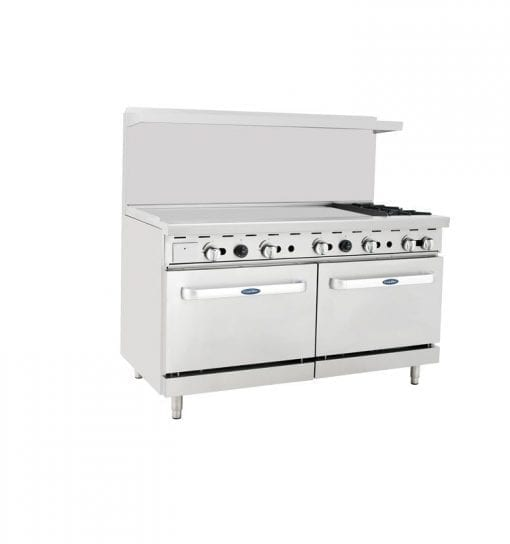"Atosa ATO-48G2B 60"" Gas Range with 2 Burners and a 48"" Griddle with 2 Ovens"