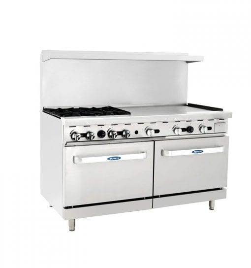 Atosa ATO-4B36G 60 Inch Gas Range with Griddle, 4 Burners, and Double Oven