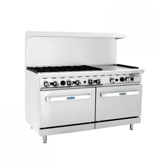 Atosa ATO-6B24G 60 Inch Gas Range with 6 Burners, 24 Inch Griddle, and Two Ovens